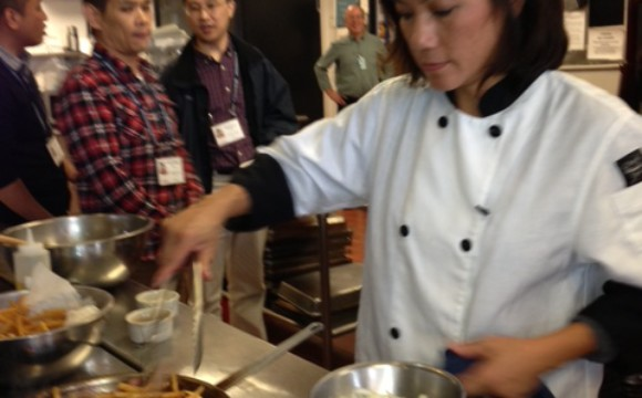 NW Culinary Influencer Chef Thoa Nguyen demos for international chef contingent @ Art Institute of Seattle-School of Culinary Arts